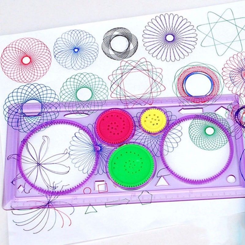 1Pcs Children's Puzzle Parent-child Game Circle Drawing Gear Creative Drawing Flower Curve Rule Kaleidoscope Ruler