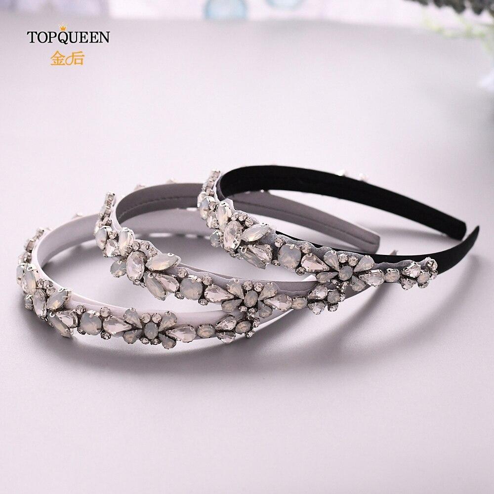 TOPQUEEN  Wedding Opal  Rhinestone Hair Accessories Bridal Tiara Headpieces Silver Rhinestone Headband Baroque Hair Band S384-FG