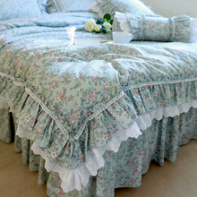 Ruffle Duvet-Cover Bedding-Set Cotton Lace Print Flowers Forest-Floral-Print Pastoral-Style