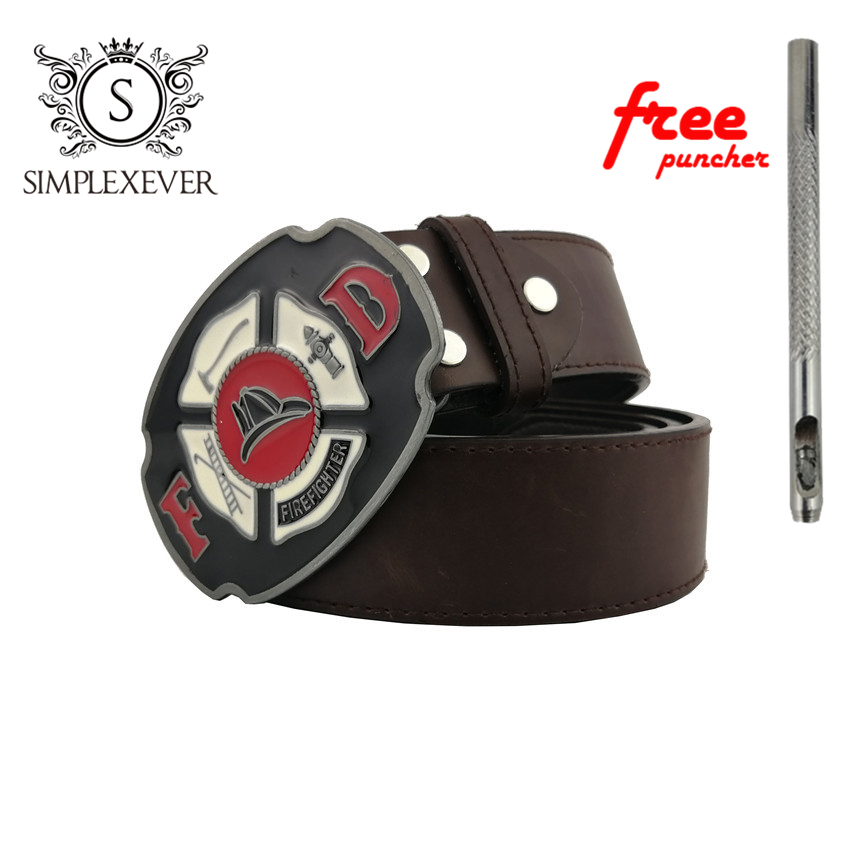 Luxury Belt Buckle For Men With Firefighters Logo, Western Metal Belt Buckle With Leather Belt As Birthday Gifts Dropshipping