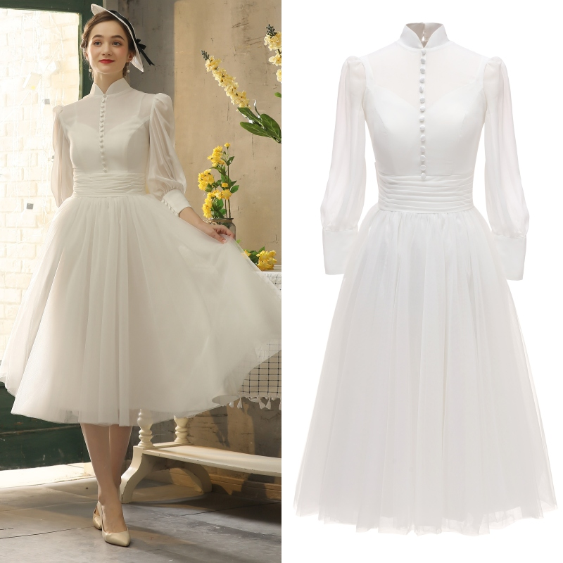 Audrey Hepburn High Neck Long Sleeve Lady Chiffon Bridal Gown Wedding Dress Evening Dresses 100% Real Sample Photo Factory