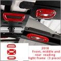 Для Jeep Wrangler 18-20 красный передний средний и задний светильник для чтения рамка хромированная формовочная отделка 3 шт.