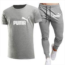 Conjunto de ropa deportiva para hombre, chándal de marca de ocio a la moda, chándal masculino de manga corta, conjunto de 2 piezas, 2021