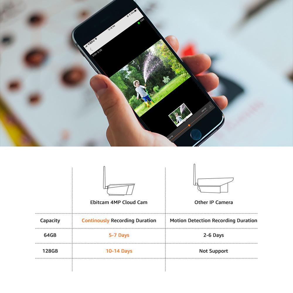 Ebitcam 4MP Scheinwerfer IP Kamera Im Freien Wolke Sicherheit Kameras Wifi Zwei Weg Audio Home Security Kameras Wifi IP Kamera Im Freien