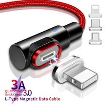 L-Line 1 м светодиодный магнитный 3а usb type-C для iPhone8 7 6 Plus X XR MAX Магнитный кабель Micro USB C для samsung S8 S9 Millet Mi 8