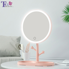 Светодиодный зеркальный светильник для макияжа, Дамская лампа для макияжа с местом для хранения, вращающееся зеркало круглой формы, космет...