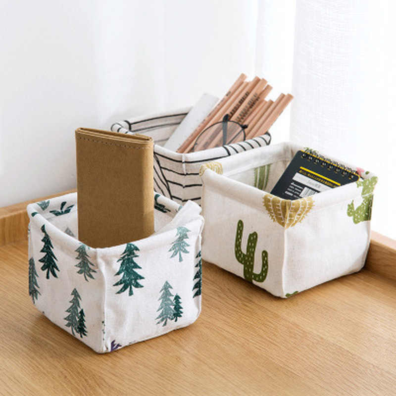 Cotton and Linen Desktop Makeup Organizer Storage Box Desk Stationery Storage Basket Cosmetic Debris Finishing Box