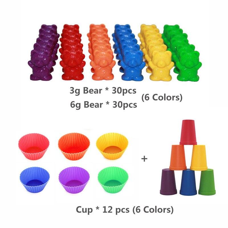 1 набор, счетные медведи, штабелирование чашек-Монтессори, радужная игра, обучающая Сортировка цветов, игрушки для малышей - Цвет: Set K