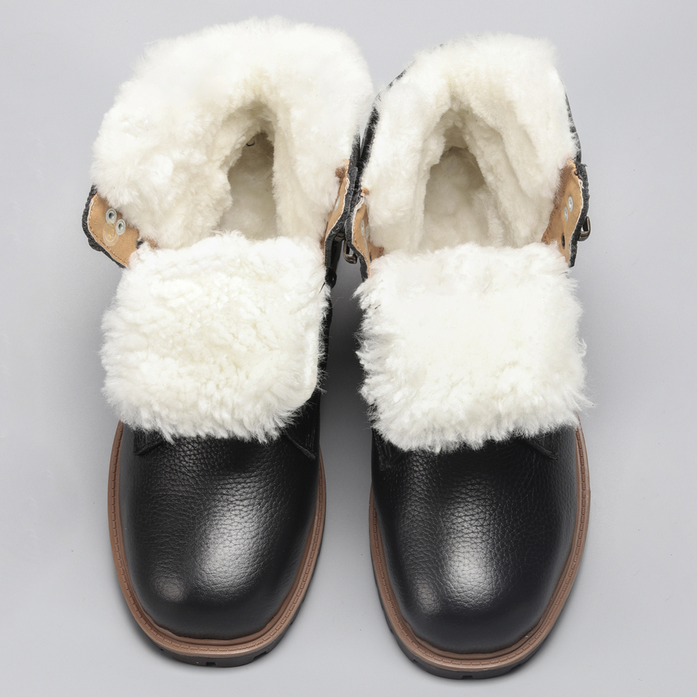 Natural Wool Snow Boots Size 35~48 Warmest Genuine Leather Russian Style Men Winter Snow Boots #YM1570