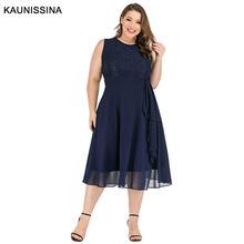 Женское шифоновое платье без рукавов с круглым вырезом