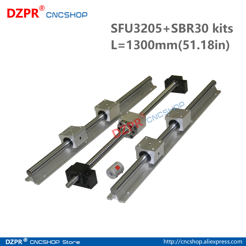 CNC Parts Set SFU3205 1300mm 51.18in + SBR30 1300mm Rail SBR30UU block BK25/BF25 End Support+RM3205 Nut bracket 14*20mm coupler