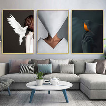 Modern Figure Lady and Bird Picture Home Decor Nordic Canvas Painting Wall Art Posters and Prints Girl Bedroom Living Room Decor buddha statue canvas painting religious wall art picture for living room bedroom decoration posters and prints modern home decor