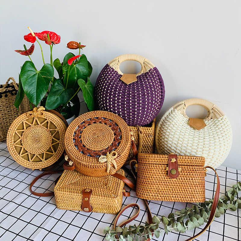 Das 2019 Mulheres Novas Bolsas de Palha Rodada Tecido Artesanal Designer de Verão Praia Boemia Rattan Saco Círculo Ombro Para Moda Feminina
