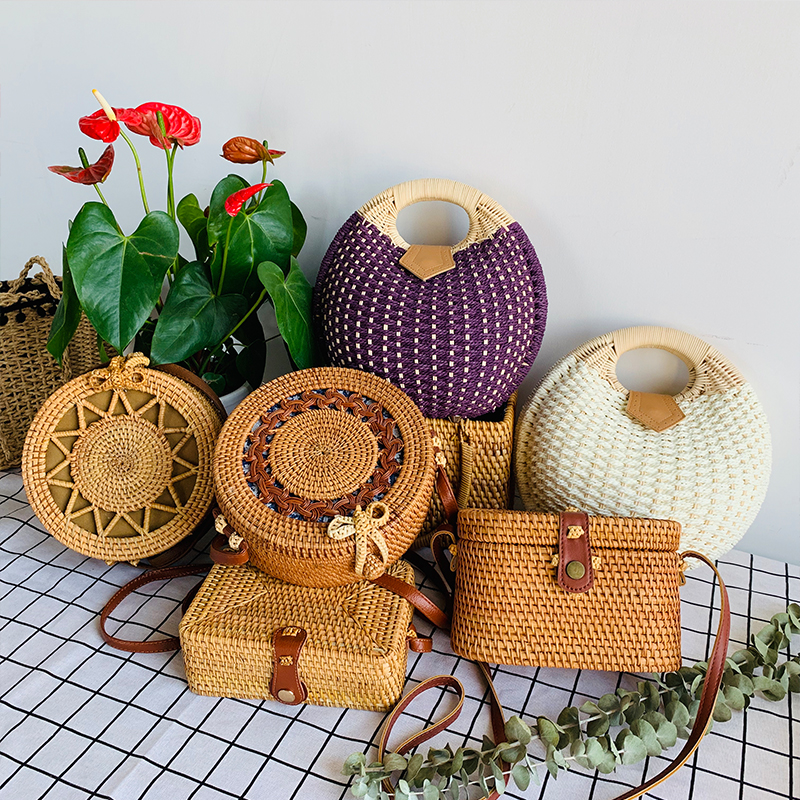 Round Women's Summer Beach Straw Bags Handmade Woven Small Rattan Circle Cross Body Shoulder Bohemia Handbag Female New Fashion