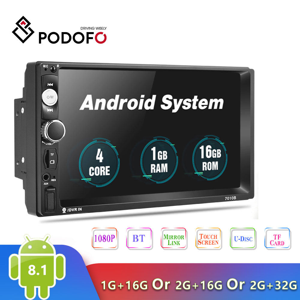 2019 Newest Podofo Android 2 Din Car Radio Multimedia Player 2GB+ROM 32GB 7''GPS MAP No Dvd 2din Autoradio For Ford Volkswagen
