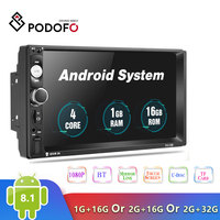 2019 Newest Podofo Android 8.1 2 Din Car Radio Multimedia Player 2GB+ROM 32GB 7''GPS MAP No Dvd 2din Autoradio For Volkswagen