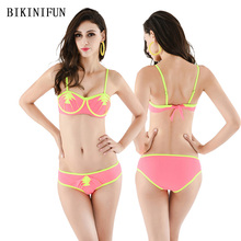New Sexy Ruffled Bikini Women Swimsuit Solid Color Swimwear Patchwork Bathing Suit S-L Girl Backless Padded Micro Set