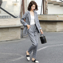 Womens Suits Set 2 Pieces Grid Suit Woma