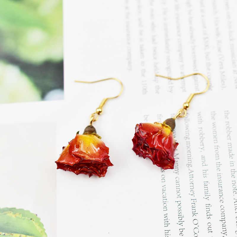 1 זוג טבעי מיובש פרח עגילי עם נוזל שרף מכוסה עלה כותרת נשים עגיל אמיתי טבע יבש פרח תכשיטים