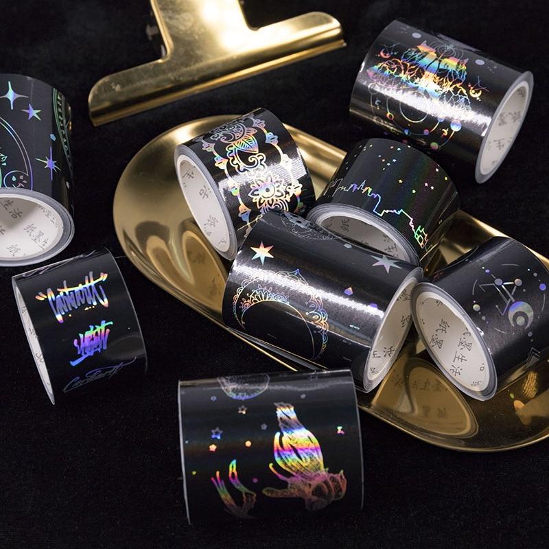 Starry Sky Star English Laser Lace Hot Silver Decorative Washi Tape Adhesive Tape DIY Scrapbooking Sticker Label Masking Tape