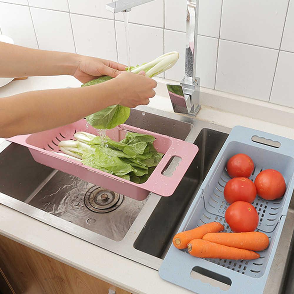 Retrátil plástico Fruta Vegetal Cesta De Drenagem De Lavagem Sobre Pia Escorredor Colanders Coador Escorredor De Armazenamento Kicthen