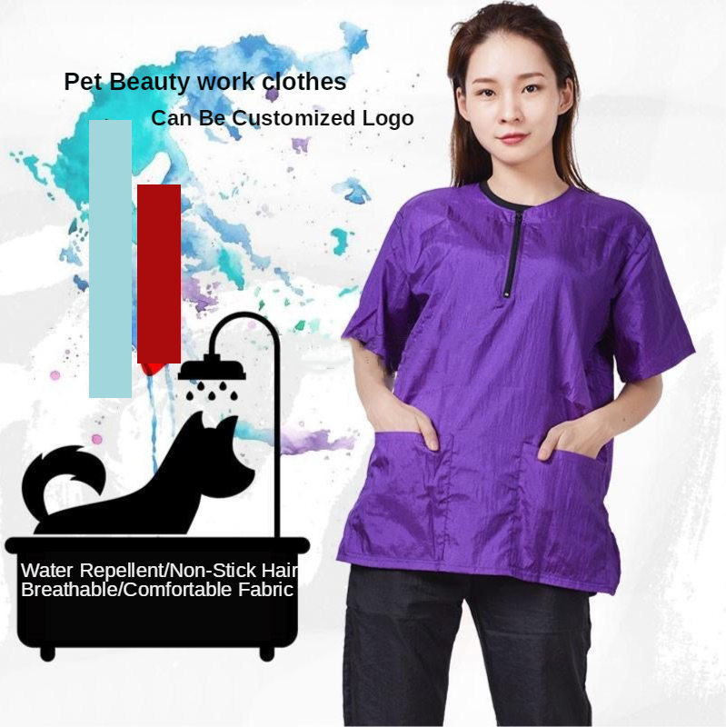 Pet Grooming Work Clothes Set Cuddly Dog Hair Anti - Hair Anti - Splash Water Pet Shop Cosmetology Uniforms Waterproof G0501