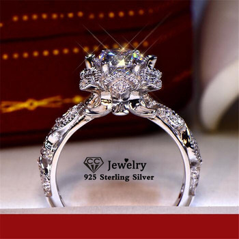 CC Wedding Rings For Women S925 Silver Stamp Hollow Flower Cubic Zirconia Vintage Fine Jewelry Bridal Promise Bague CC3135