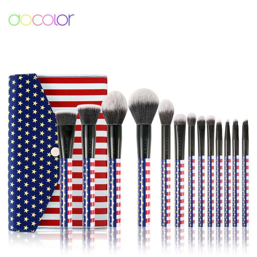 Juego de brochas de maquillaje Docolor de 13 uds, base Profesional en polvo, colorete, sombra de ojos, corrector, maquillaje, cosméticos, herramientas de belleza|rizador de pestañas|   - AliExpress