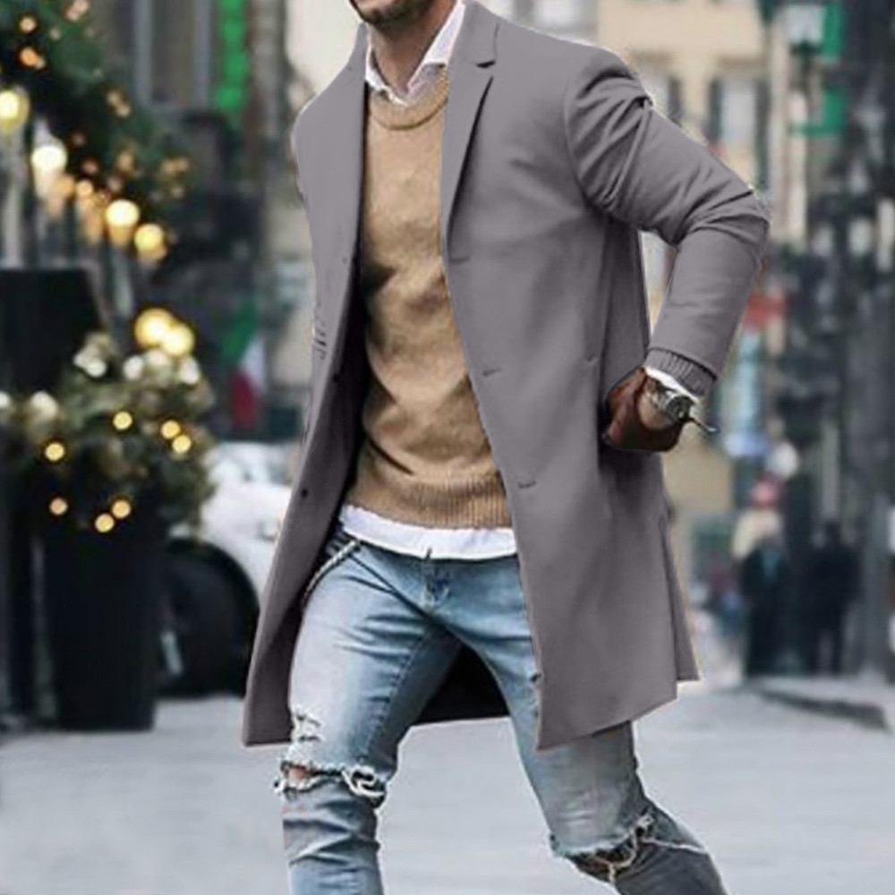 Men's Overcoat Fashion Autumn Winter Button Slim Long Sleeve Suit Jacket Trench Coat Casual high quality Mens Tops Blouse 020New 2
