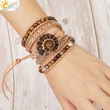 CSJA Boho Leather Fossils Wrap Bracelet Natural Stone Bracelets for Women Tiger Eye Bead Multilayer Wickelarmband S475