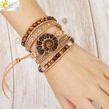 Женский кожаный браслет CSJA, многослойный браслет в стиле бохо с окаменелостью из натурального камня и бусинами «тигровый глаз», S475