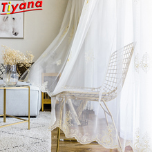 Gold Geometric Pattern Embroidered Sheer Gauze Tulle Curtains for Living Room White Nordic Embroidery WH082#20