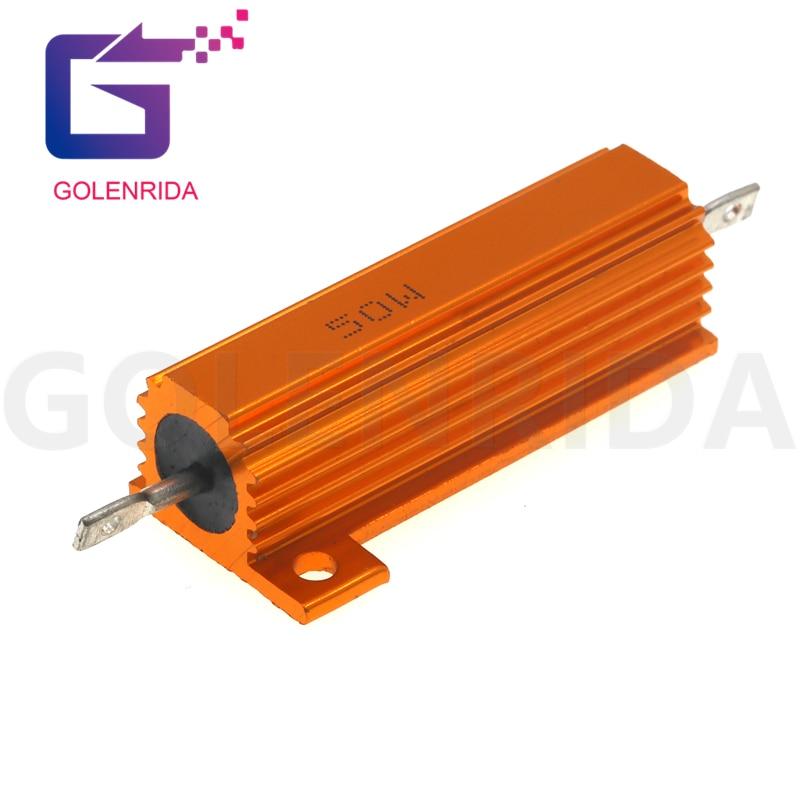 1PCS 100W Aluminum Power Metal Shell Case Wirewound Resistor 0.1R ~ 10K 1 6 8 10 20 200 500 1K 10K ohm resistance RX24