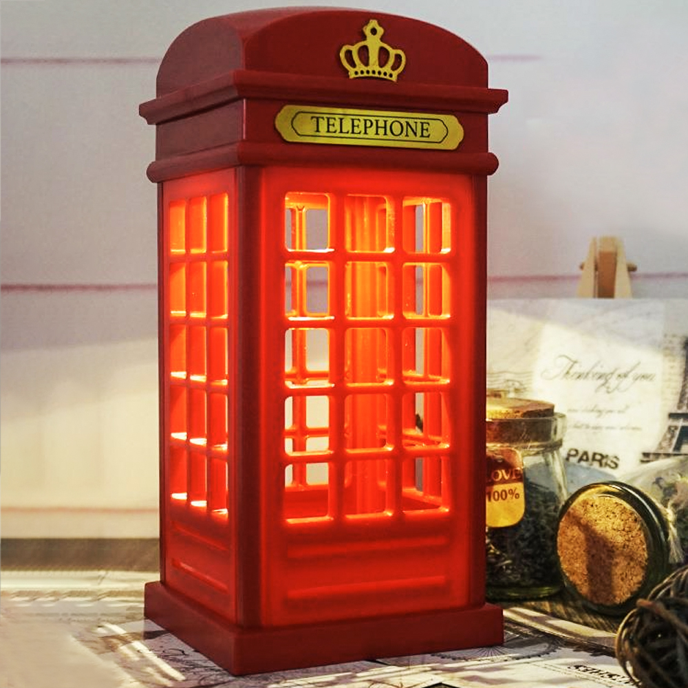 2019 Portable Night Light Retro London Telephone Booth Night Light USB Rechargeable Red Table Lamp Home Decoration
