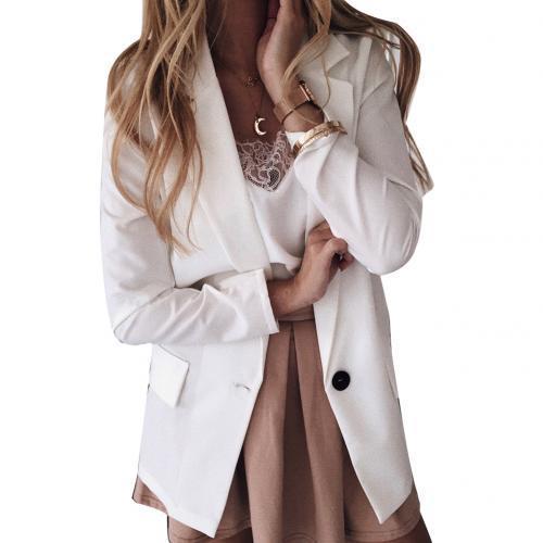 Women Blazer Formal Blazers Office Lady Work Suit Pockets Jackets Coat Slim Black White Fit Coats Jackets Blazer