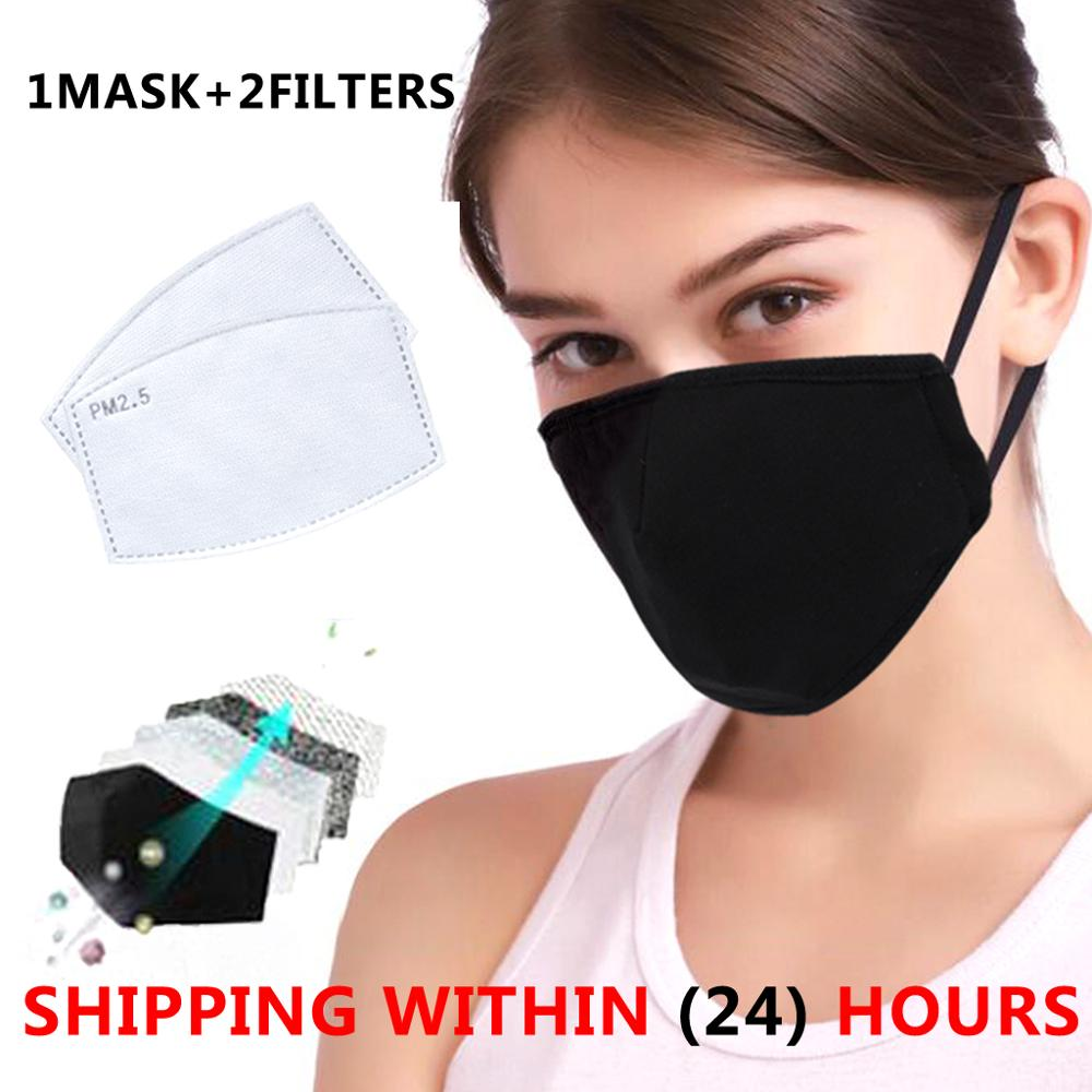 Cotton Black Mask Mouth Face Mask Anti PM2.5 Dust Mouth Mask With 2pcs Activated Carbon Filter Korean Mask Fabric Face Mask