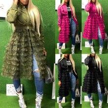 Goocheer 2019 New Women Long Sleeve Zippered Casual Ruffled Mesh Sheer Patchwork Jacket Coat