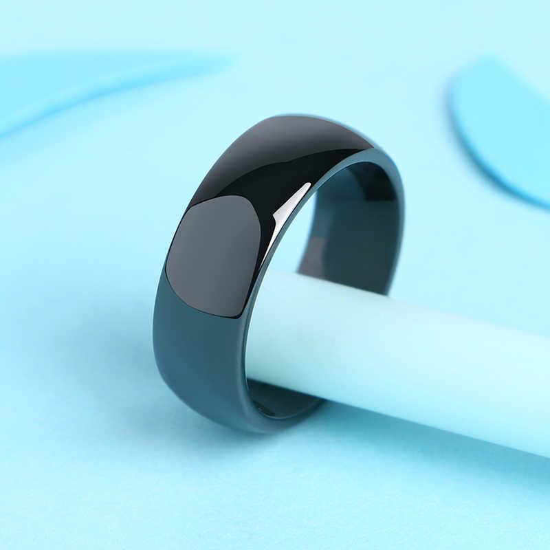 ไม่เคยเลือนหายไป 8MM ความกว้างเซรามิคแหวนผู้ชายผู้หญิงแหวนเรียบสบายแหวนแต่งงานหมั้นของขวัญขนาด 6-10