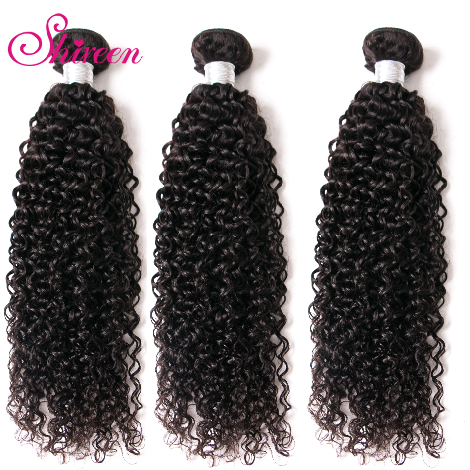 Shireen Hair Brazilian Kinky Curly Hair 3 Bundles 100% Human Hair Weave Bundles Natural Color Remy Hair Bundles Free Shipping