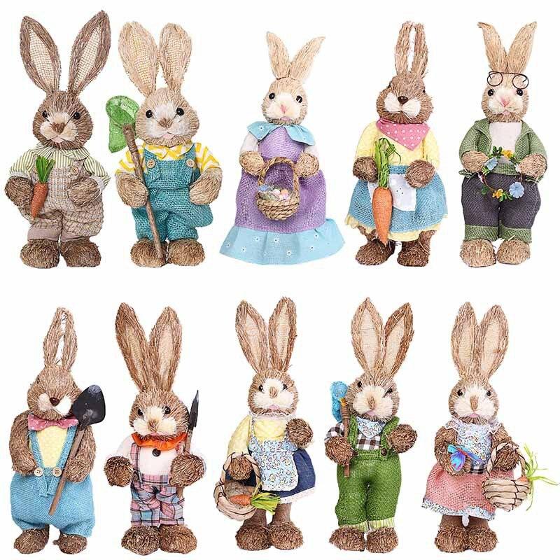 Conejo de paja Artificial, conejo de pascua, decoración de jardín para Pascua, recuerdo de Fiesta Temática, decoración de jardín, conejo Conjuntos de vestido de Pascua para niñas, vestido de conejo a rayas, Cartera de conejito a juego, medias y accesorios