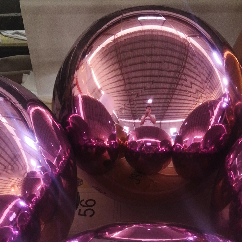 1 Meter Pink Inflatable Mirror Balls For Ceremony And Promotion Decoration