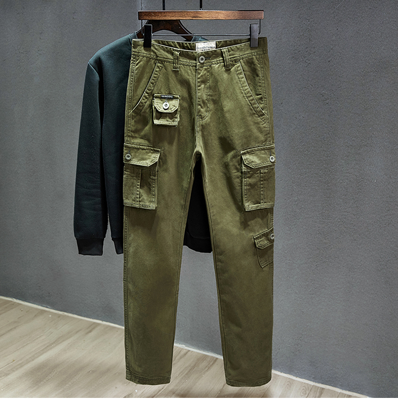 KSTUN Cotton Cargo Pants Men Straight Cut Tactical Military Overalls Multi Pocket Camouflage Pants Khaki Pants Man Trousers Sweatpants 13