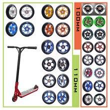 [100mm 110mm] substituição push/kick/stunt scooter rodas com rolamentos & buchas scooter peças acessórios 2 pçs/set