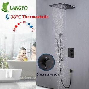 Image 2 - Juego de grifos de ducha termostáticos de 3 vías, cabezal de ducha de cascada de lujo, color negro, Grifo de ducha de baño