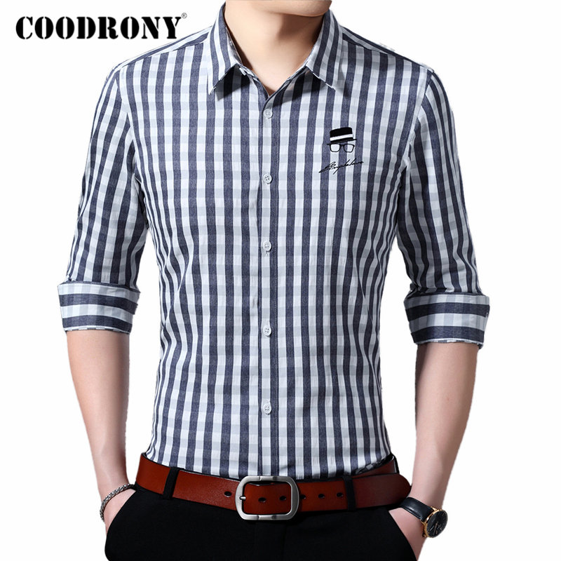 COODRONY Brand Men Shirt Long Sleeve Cotton Shirt Men Young Man Streetwear Fashion Striped Casual Shirts Camisa Masculina 96101
