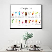 Póster Artístico con estampado de recetas de cóctel, decoración para pared de cocina, regalo para amantes de los cócteles, menú de cóctel, lienzo, imágenes artísticas