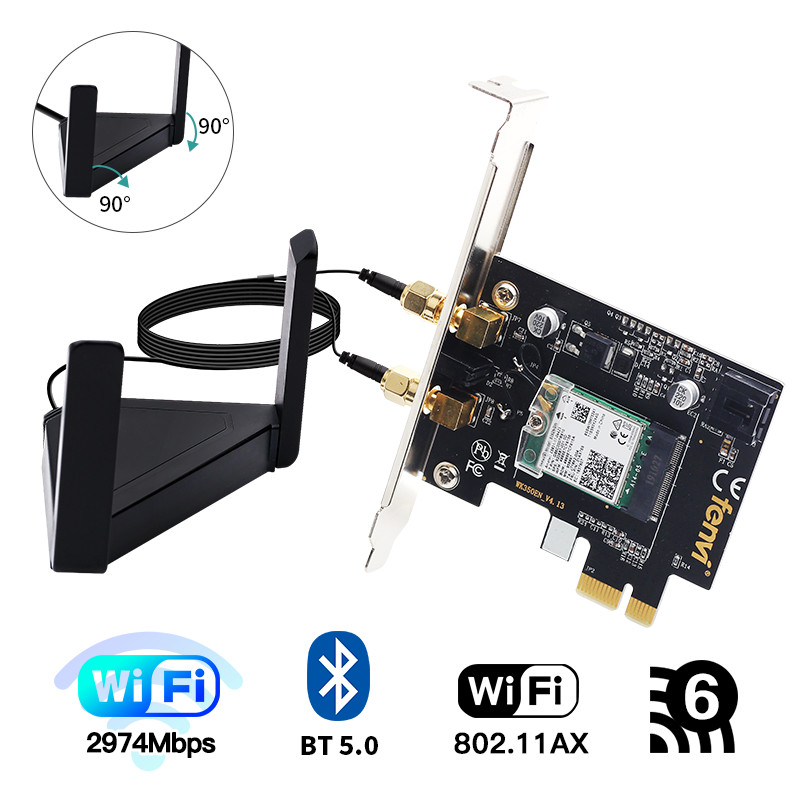 Dual band 3000Mbps Wifi 6 PCIe Wireless Adapter Intel <font><b>AX200</b></font> Bluetooth 5.0 Card 2.4G/5Ghz 802.11ac/ax For Desktop PC image