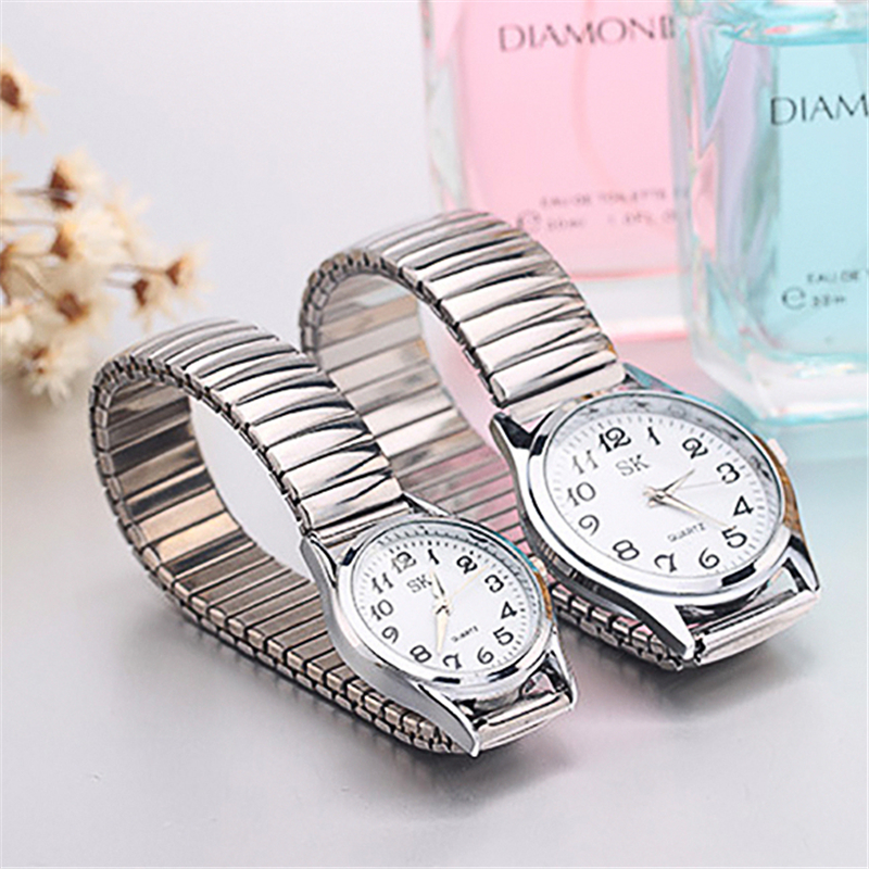 1Pair Lovers Fashion Casual Quartz Watch Stainless Steel Contains Elastic Strap Design Adjustable Fashion Wristwatch