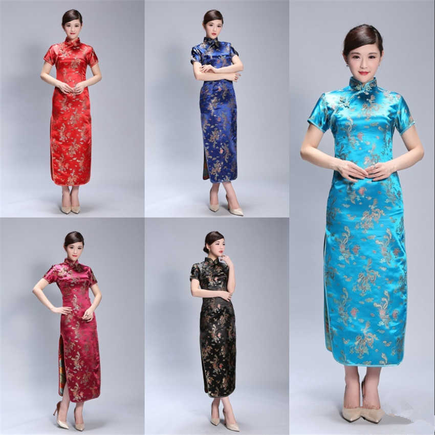 14Color Satin Chinese Dress Women Traditional Evening Party Cheongsam Print New year Adult Retro Long Dresses Qipao S-6XL