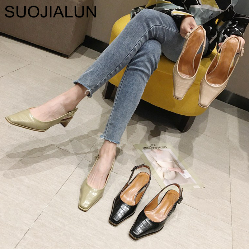 SUOJIALUN 2020 Spring Women Sandal Pump Med Heel OL Valentine Shoes Ladies Square Toe Slip On Elegant Stone Pattern Pump Shoes